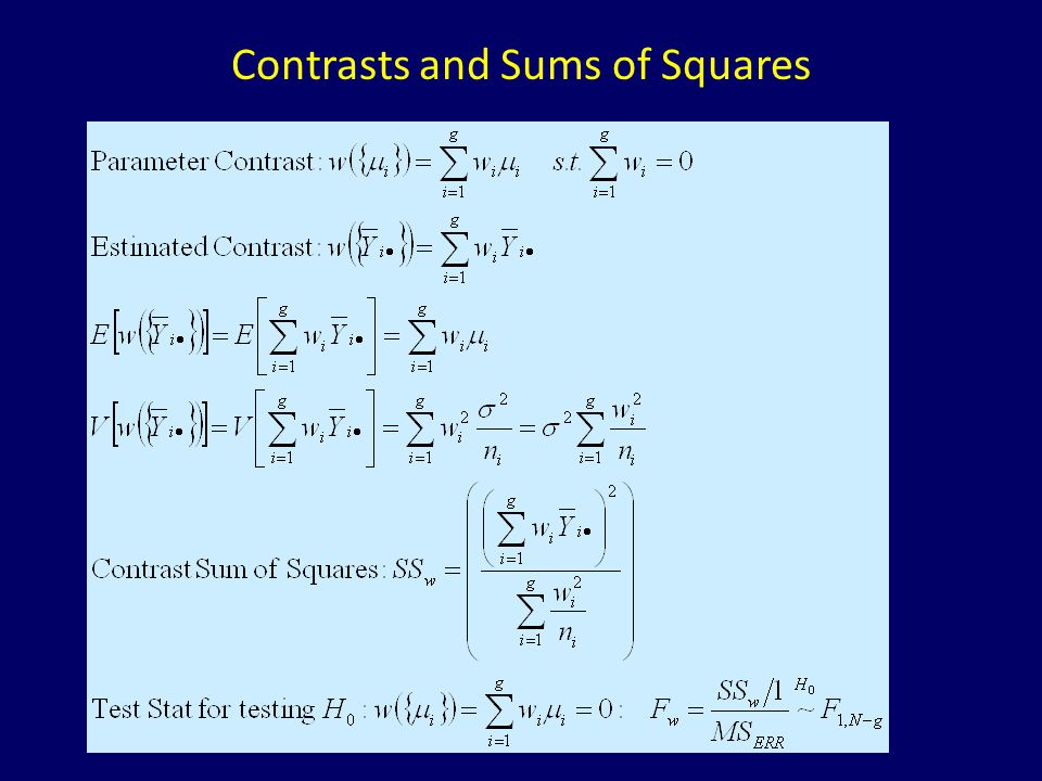 Orthogonal Polynomials Coefficients of Dose Means that describe the structure of means in polynomial form: Linear, Quadratic, Cubic,… (up to order g-1=9 for this example) Squared Coefficients Sum to 1 Products of Coefficients Sum to 0 for Different Polynomial Contrasts (Orthogonal) Note: P0 is not a contrast, but is used to get the intercept in regression