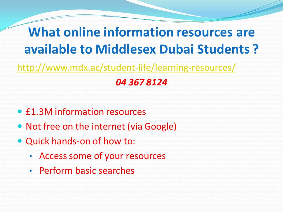 What online information resources are available to Middlesex Dubai Students .