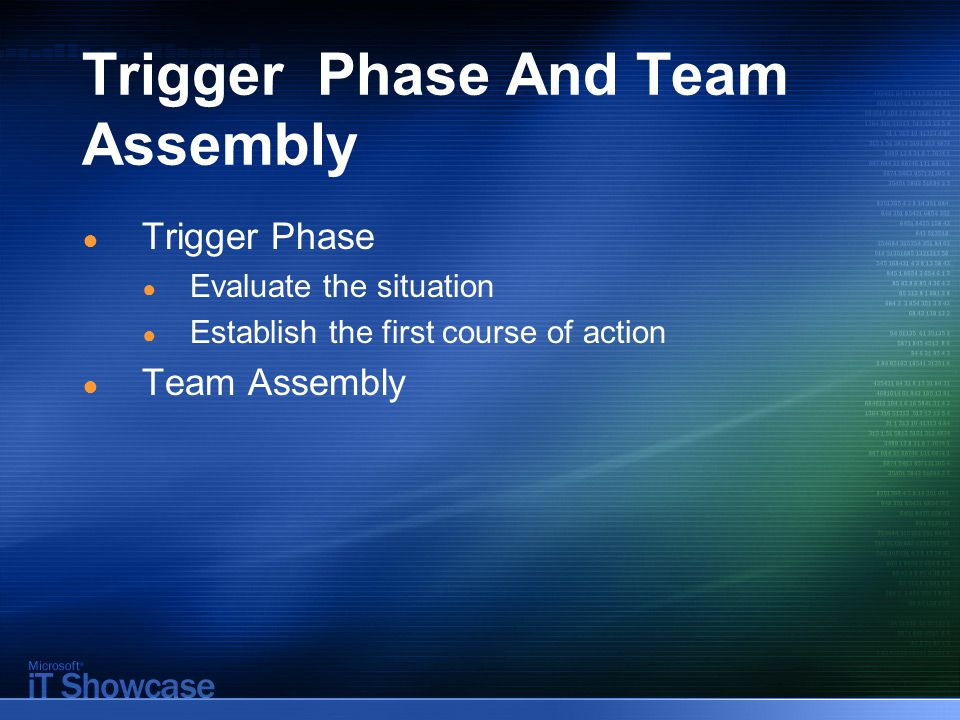 Trigger Phase And Team Assembly ● Trigger Phase ● Evaluate the situation ● Establish the first course of action ● Team Assembly