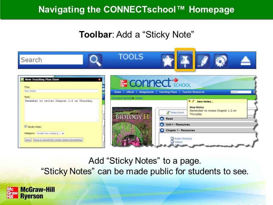 Toolbar: Add a Sticky Note Add Sticky Notes to a page.