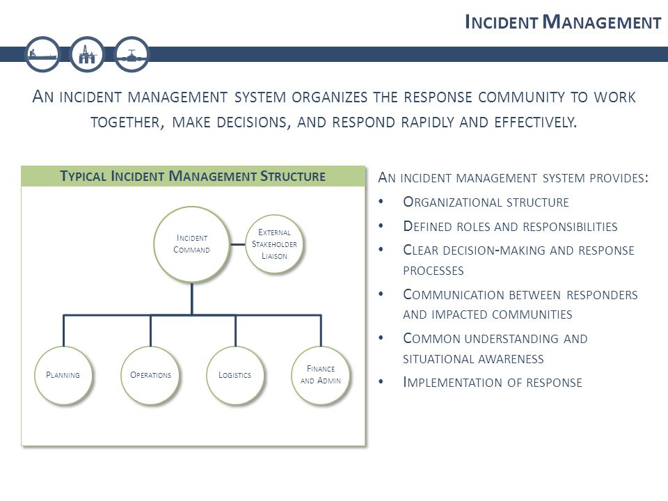 I NCIDENT M ANAGEMENT A N INCIDENT MANAGEMENT SYSTEM ORGANIZES THE RESPONSE COMMUNITY TO WORK TOGETHER, MAKE DECISIONS, AND RESPOND RAPIDLY AND EFFECTIVELY.