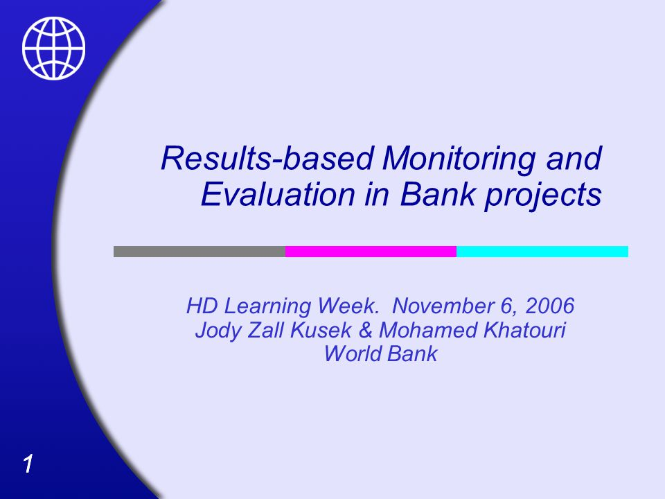11 Results-based Monitoring and Evaluation in Bank projects HD Learning Week.