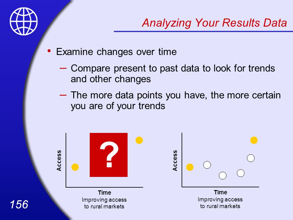 156 Analyzing Your Results Data Examine changes over time – Compare present to past data to look for trends and other changes – The more data points you have, the more certain you are of your trends .