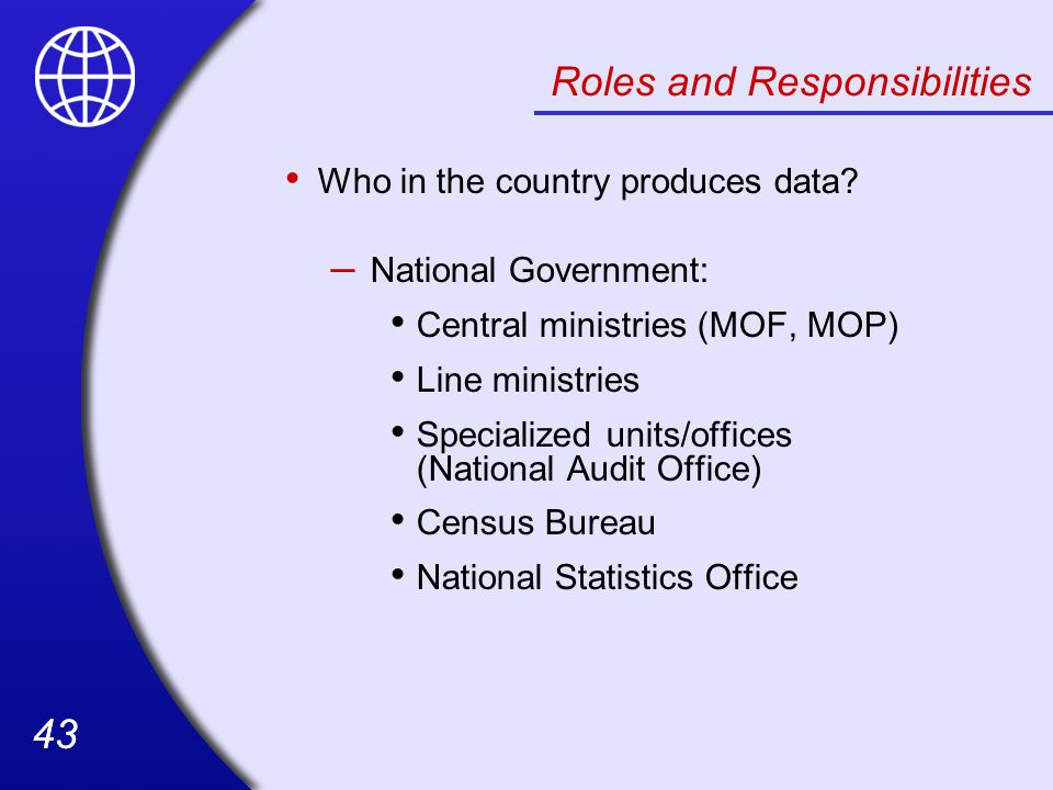 43 Roles and Responsibilities Who in the country produces data.