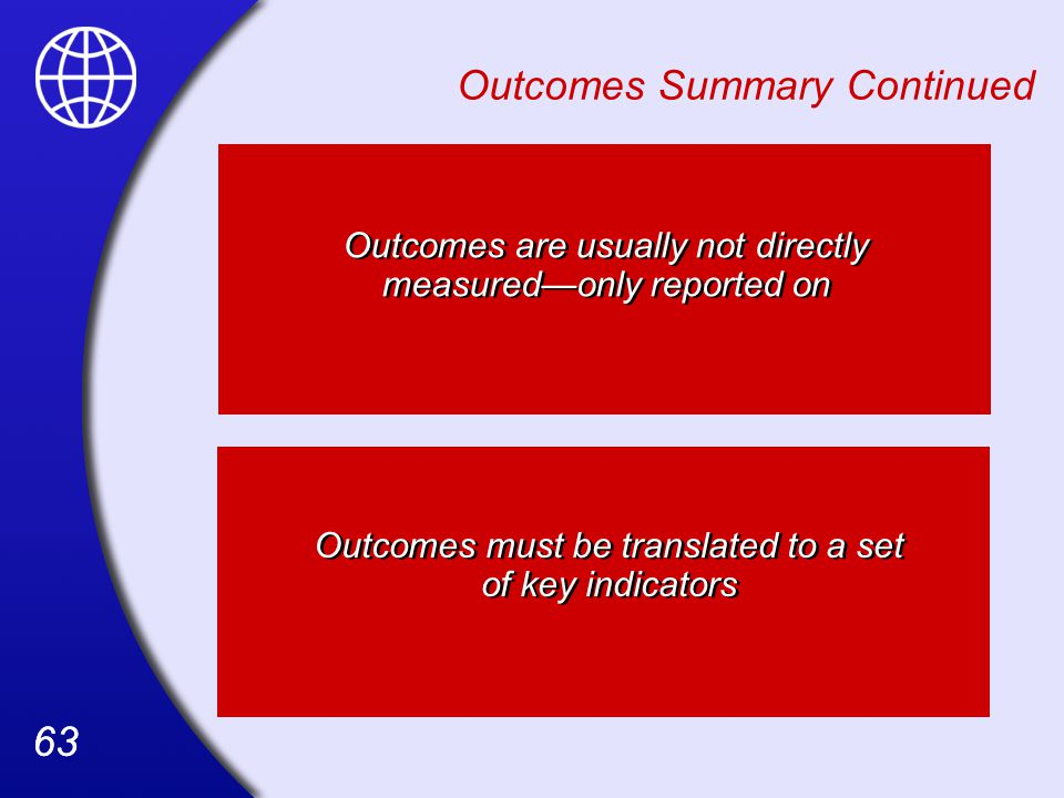 63 Outcomes must be translated to a set of key indicators Outcomes Summary Continued Outcomes are usually not directly measured—only reported on
