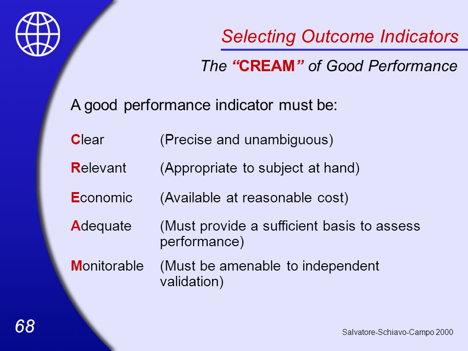 68 Selecting Outcome Indicators The CREAM of Good Performance A good performance indicator must be: Clear(Precise and unambiguous) Relevant(Appropriate to subject at hand) Economic(Available at reasonable cost) Adequate(Must provide a sufficient basis to assess performance) Monitorable(Must be amenable to independent validation) Salvatore-Schiavo-Campo 2000