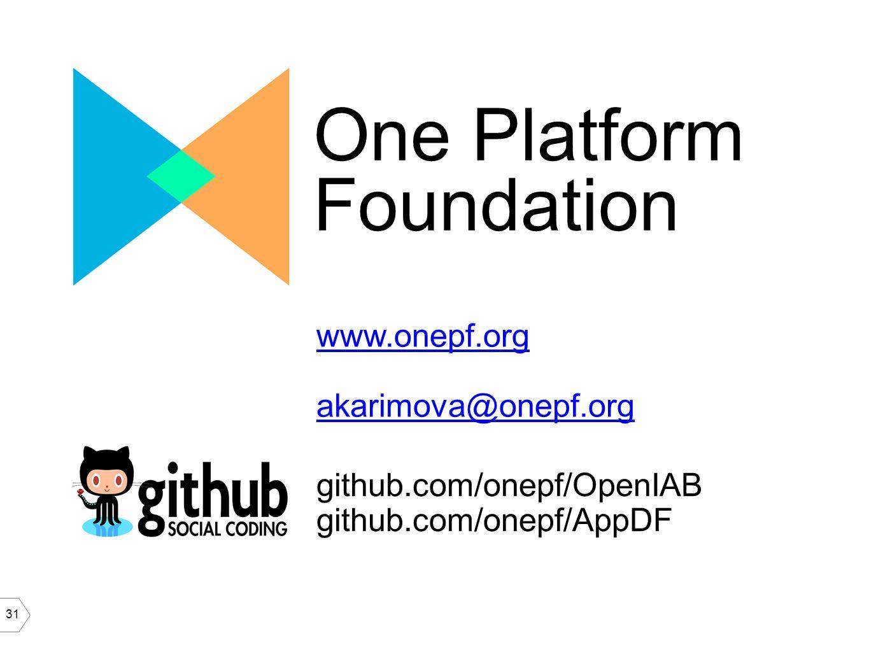 31 One Platform Foundation www.onepf.org akarimova@onepf.org github.com/onepf/OpenIAB github.com/onepf/AppDF