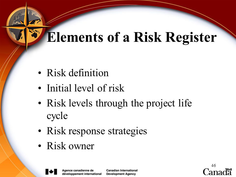 46 Elements of a Risk Register Risk definition Initial level of risk Risk levels through the project life cycle Risk response strategies Risk owner
