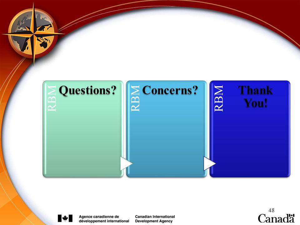 48 1 RBM Questions? RBM Concerns? RBM Thank You!
