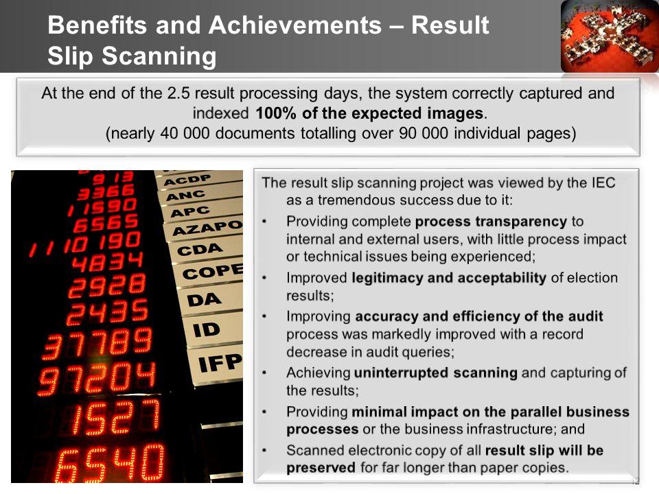 12 Benefits and Achievements – Result Slip Scanning