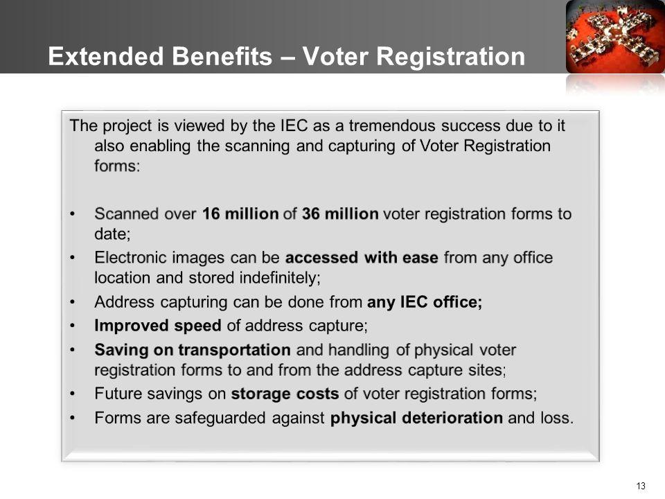 13 Extended Benefits – Voter Registration