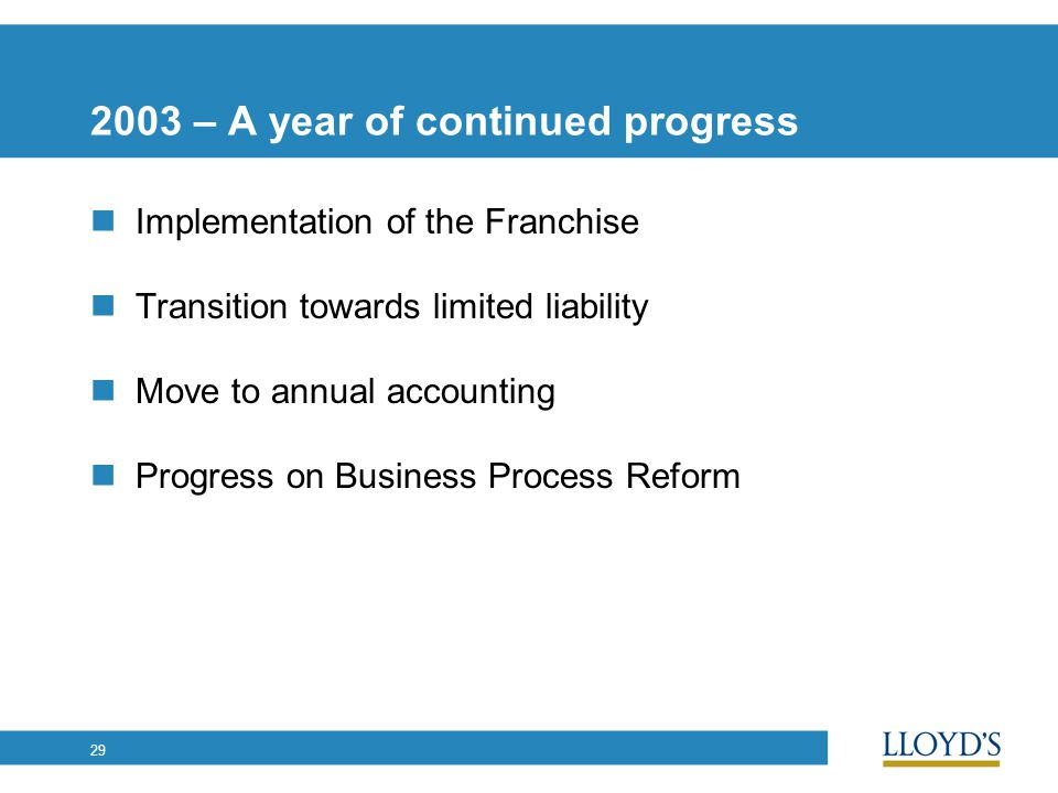 29 2003 – A year of continued progress Implementation of the Franchise Transition towards limited liability Move to annual accounting Progress on Business Process Reform