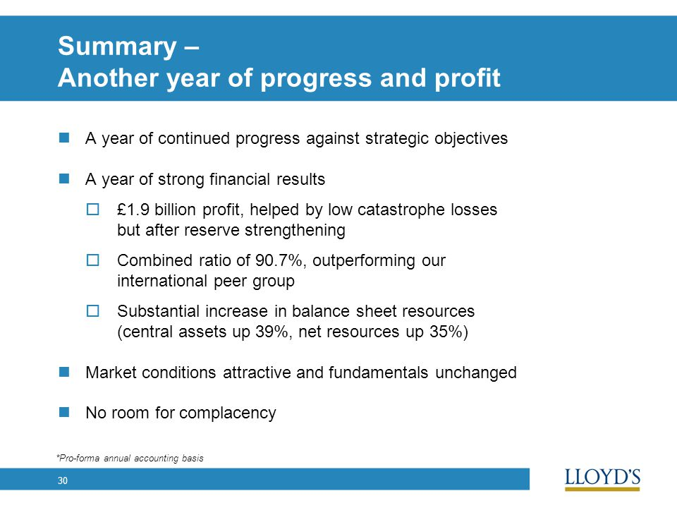 30 Summary – Another year of progress and profit A year of continued progress against strategic objectives A year of strong financial results  £1.9 billion profit, helped by low catastrophe losses but after reserve strengthening  Combined ratio of 90.7%, outperforming our international peer group  Substantial increase in balance sheet resources (central assets up 39%, net resources up 35%) Market conditions attractive and fundamentals unchanged No room for complacency *Pro-forma annual accounting basis