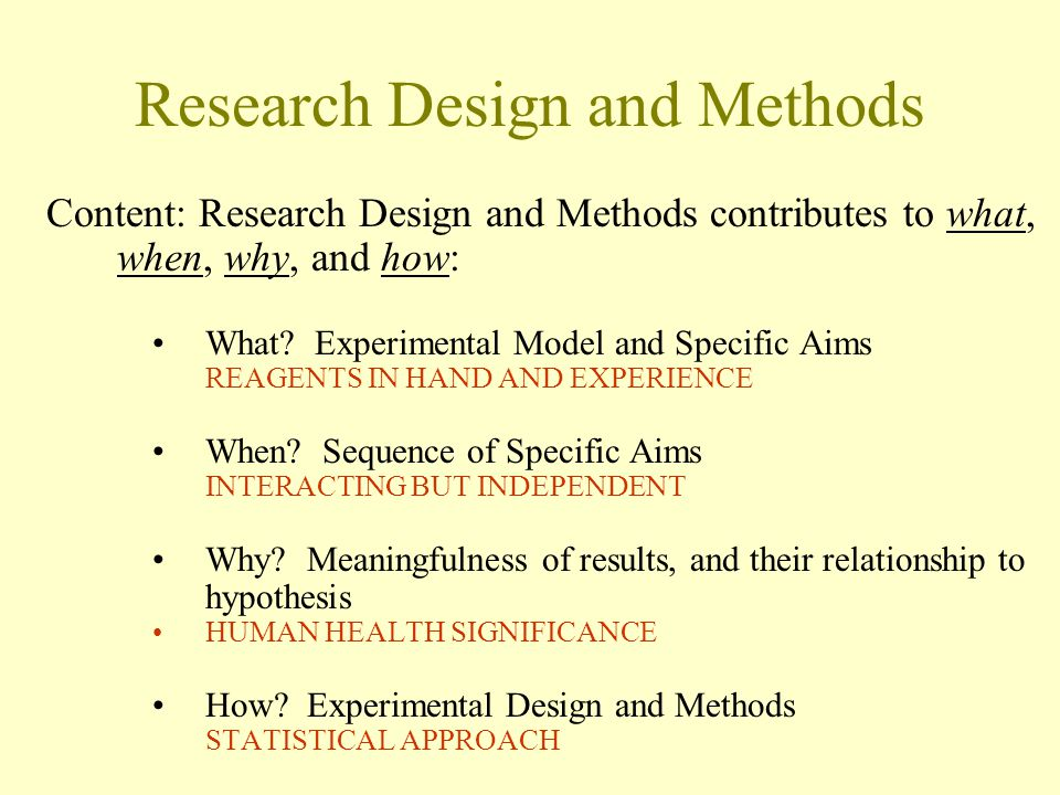 Research Design and Methods Content: Research Design and Methods contributes to what, when, why, and how: What.