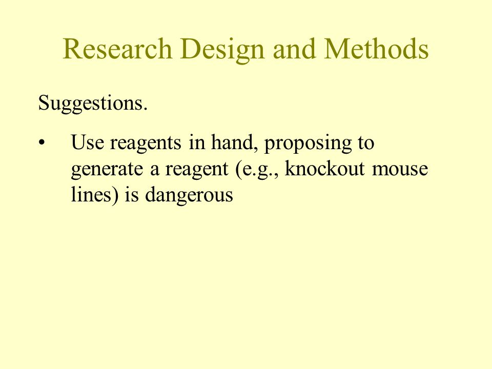 Research Design and Methods Suggestions.