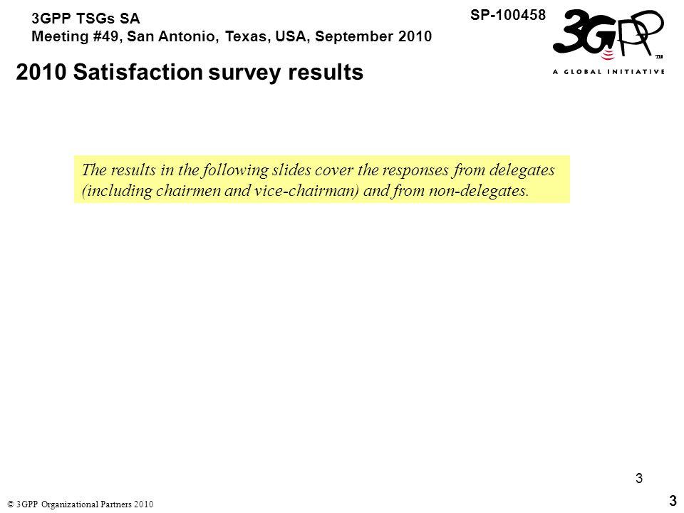 4 3GPP TSGs SA Meeting #49, San Antonio, Texas, USA, September 2010 SP-100458 © 3GPP Organizational Partners 2010 4 2010 Satisfaction survey results Questions were rated 1 (poor) to 5 (good).