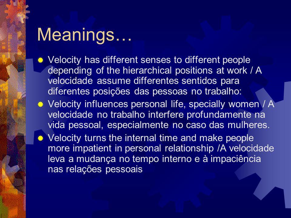 Meanings…  Velocity has different senses to different people depending of the hierarchical positions at work / A velocidade assume differentes sentidos para diferentes posições das pessoas no trabalho:  Velocity influences personal life, specially women / A velocidade no trabalho interfere profundamente na vida pessoal, especialmente no caso das mulheres.