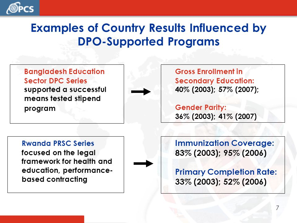 7 Examples of Country Results Influenced by DPO-Supported Programs Bangladesh Education Sector DPC Series supported a successful means tested stipend program Rwanda PRSC Series focused on the legal framework for health and education, performance- based contracting Gross Enrollment in Secondary Education: 40% (2003); 57% (2007); Gender Parity: 36% (2003); 41% (2007) Immunization Coverage: 83% (2003); 95% (2006) Primary Completion Rate: 33% (2003); 52% (2006)