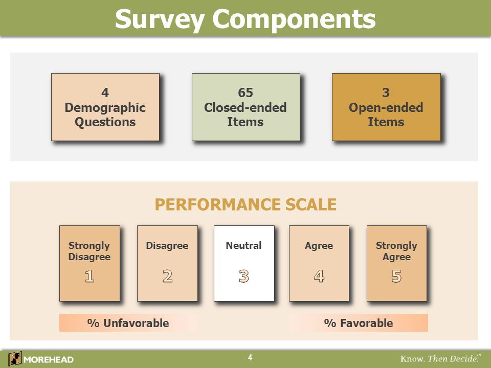 Survey Components PERFORMANCE SCALE 4 65 Closed-ended Items 4 Demographic Questions 3 Open-ended Items NeutralAgreeStrongly Agree Strongly Disagree %