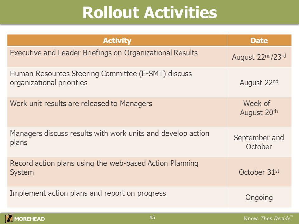 45 ActivityDate Executive and Leader Briefings on Organizational Results August 22 nd /23 rd Human Resources Steering Committee (E-SMT) discuss organi