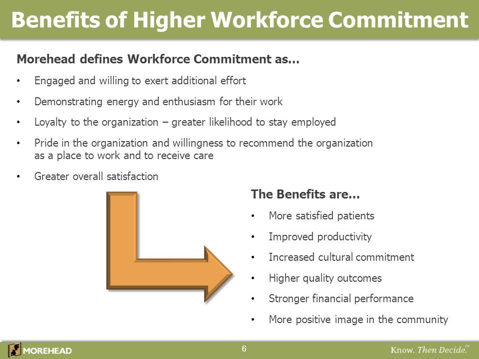 Benefits of Higher Workforce Commitment 6 Morehead defines Workforce Commitment as… Engaged and willing to exert additional effort Demonstrating energ