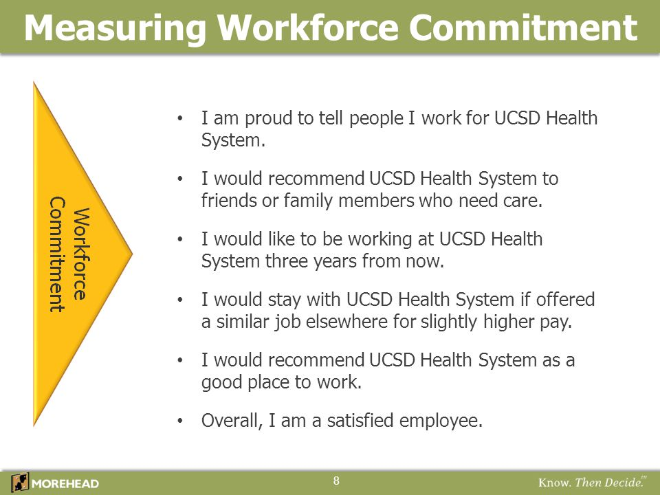 Key Driver Analysis 19 Difference from: KEY DRIVERS of Workforce Commitment (in order of influence) Domain 2012 UCSDHS % Unfav Natl HC Avg Natl UHC Avg 2010 UCSDHS 50.
