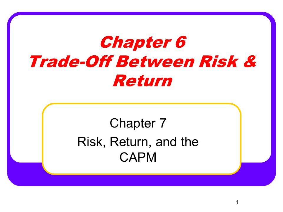 2 Today's Chapter 6 & 7 Topics Historical Trade-Off between Risk and Return Historical Risk Premiums Calculation of Historical Return and Risk Portfolio Return and Risk Calculation of Probabilistic Expected Return & Risk Risk Diversification Unsystematic & Systematic Risk