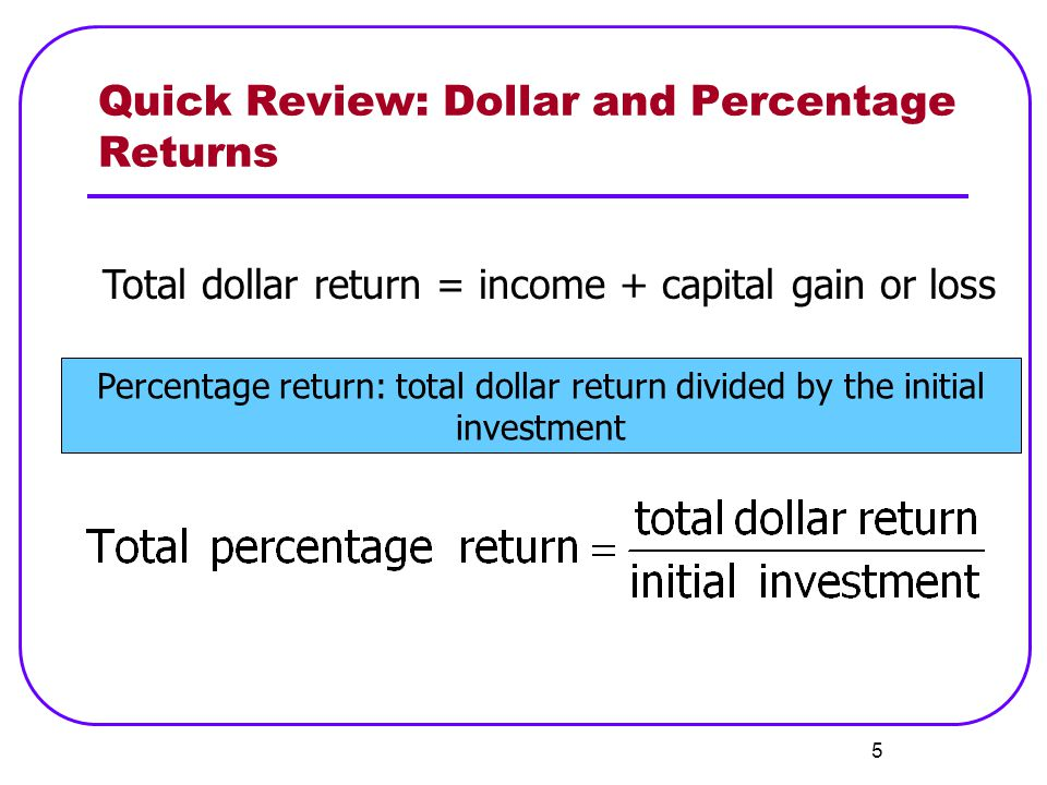 6 Percentage Returns on Bills, Bonds, and Stocks, 1900 - 2003 Difference between average return of stocks and bills = 7.6% Difference between average return of stocks and bonds = 6.5% Risk premium: the difference in returns offered by a risky asset relative to the risk-free return available
