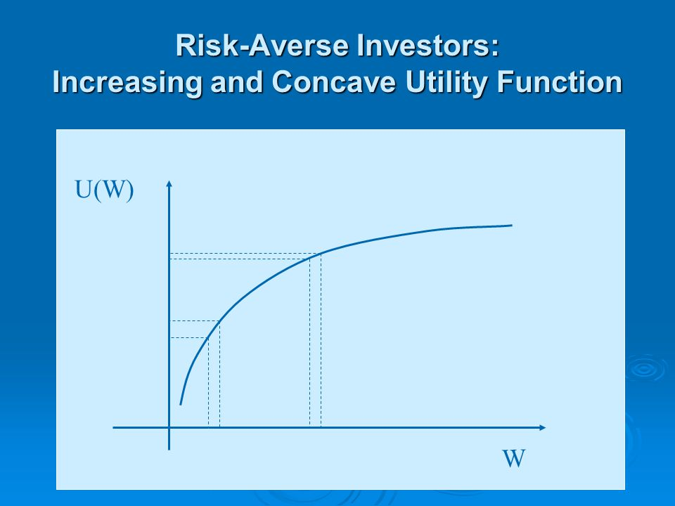 Risk-Averse Investors: Increasing and Concave Utility Function W U(W)