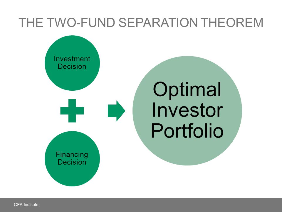 THE TWO-FUND SEPARATION THEOREM Investment Decision Financing Decision Optimal Investor Portfolio