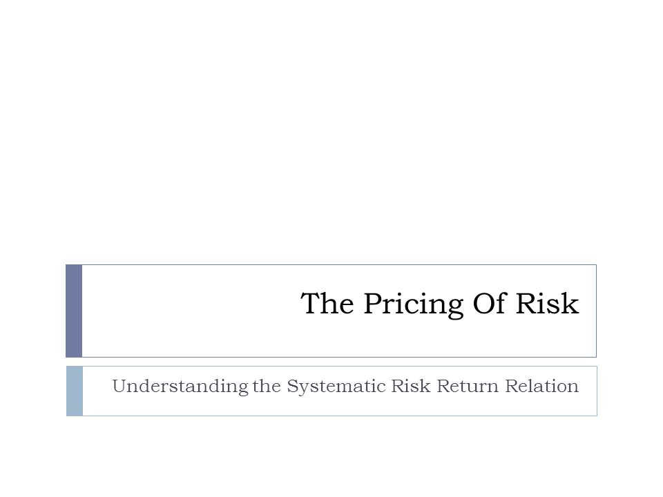 The Pricing Of Risk Understanding the Systematic Risk Return Relation