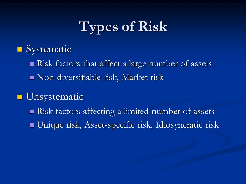 Types of Risk Systematic Systematic Risk factors that affect a large number of assets Risk factors that affect a large number of assets Non-diversifiable risk, Market risk Non-diversifiable risk, Market risk Unsystematic Unsystematic Risk factors affecting a limited number of assets Risk factors affecting a limited number of assets Unique risk, Asset-specific risk, Idiosyncratic risk Unique risk, Asset-specific risk, Idiosyncratic risk