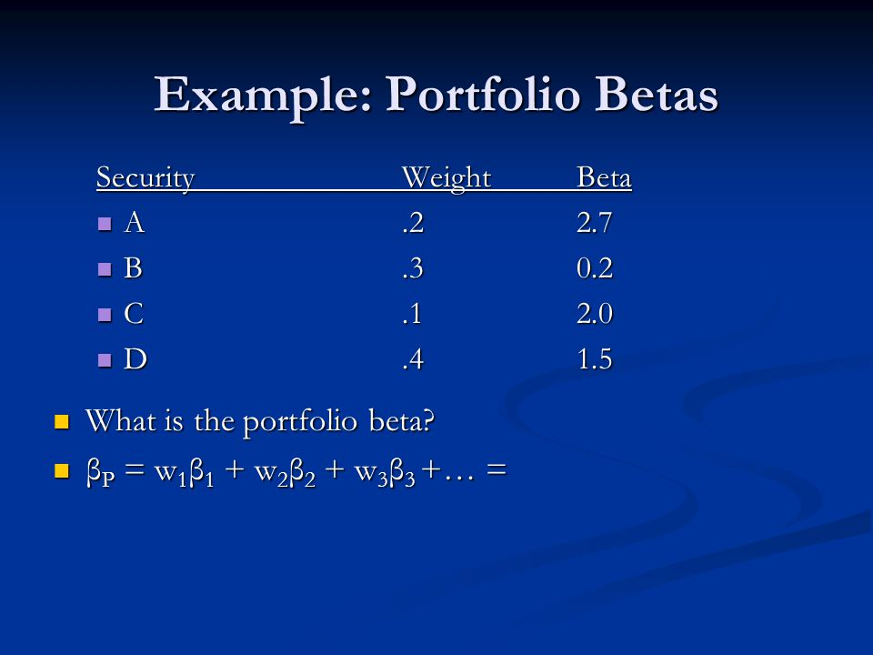 Example: Portfolio Betas SecurityWeightBeta A.22.7 A.22.7 B.30.2 B.30.2 C.12.0 C.12.0 D.41.5 D.41.5 What is the portfolio beta.