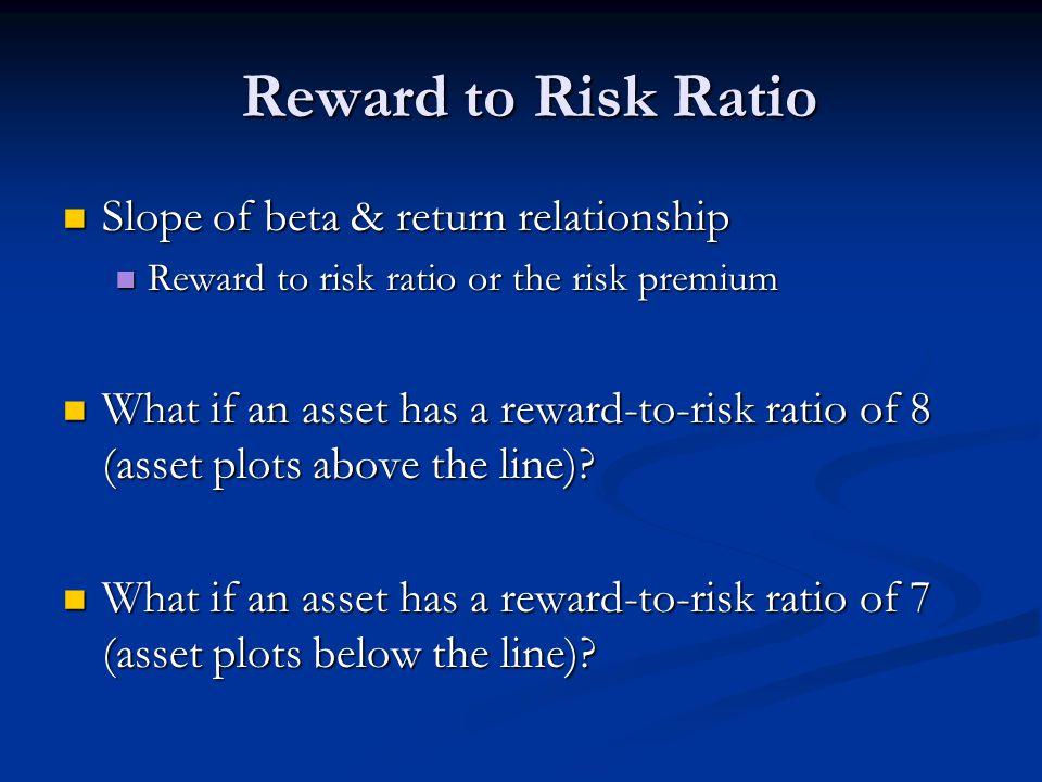 Reward to Risk Ratio Slope of beta & return relationship Slope of beta & return relationship Reward to risk ratio or the risk premium Reward to risk ratio or the risk premium What if an asset has a reward-to-risk ratio of 8 (asset plots above the line).
