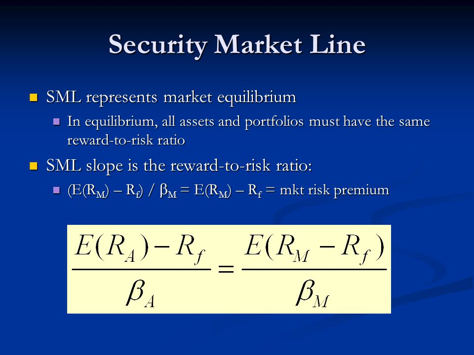 Security Market Line SML represents market equilibrium SML represents market equilibrium In equilibrium, all assets and portfolios must have the same reward-to-risk ratio In equilibrium, all assets and portfolios must have the same reward-to-risk ratio SML slope is the reward-to-risk ratio: SML slope is the reward-to-risk ratio: (E(R M ) – R f ) /  M = E(R M ) – R f = mkt risk premium (E(R M ) – R f ) /  M = E(R M ) – R f = mkt risk premium