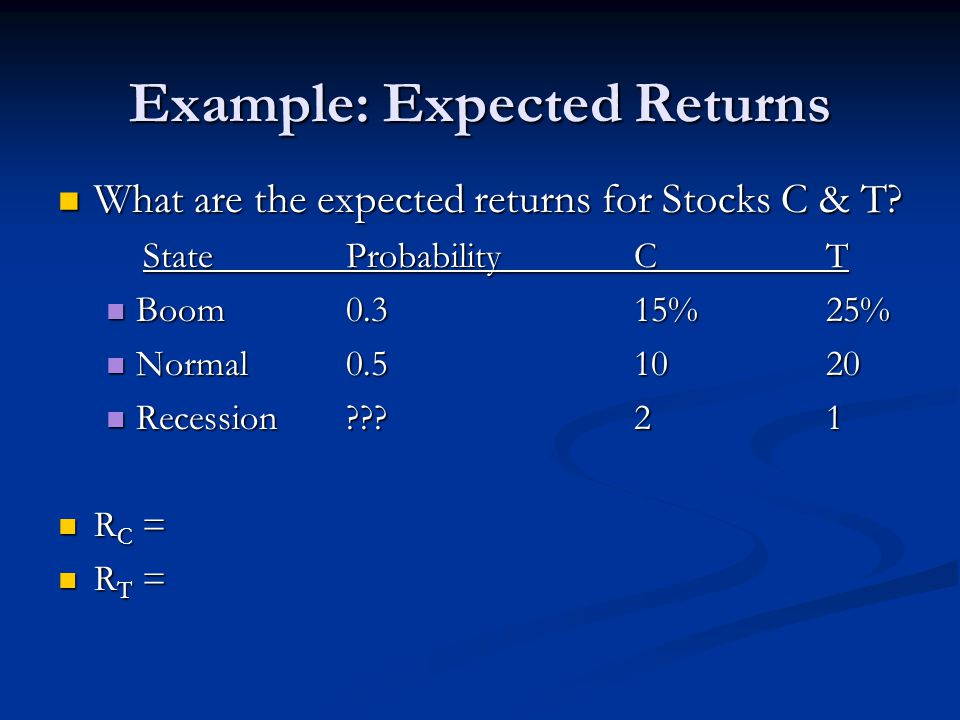 Example: Expected Returns What are the expected returns for Stocks C & T.
