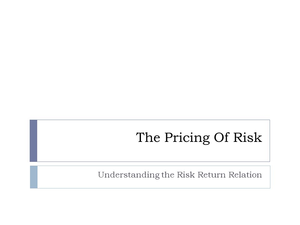 Risk and the Cost of Capital  Three inputs are required: (i) An estimate of the risk free interest rate.
