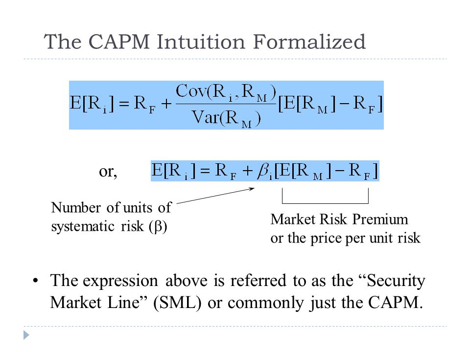 "The CAPM Intuition Formalized The expression above is referred to as the ""Security Market Line"" (SML) or commonly just the CAPM. Number of units of sy"