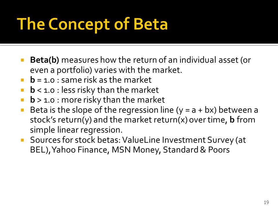  Beta(b) measures how the return of an individual asset (or even a portfolio) varies with the market.
