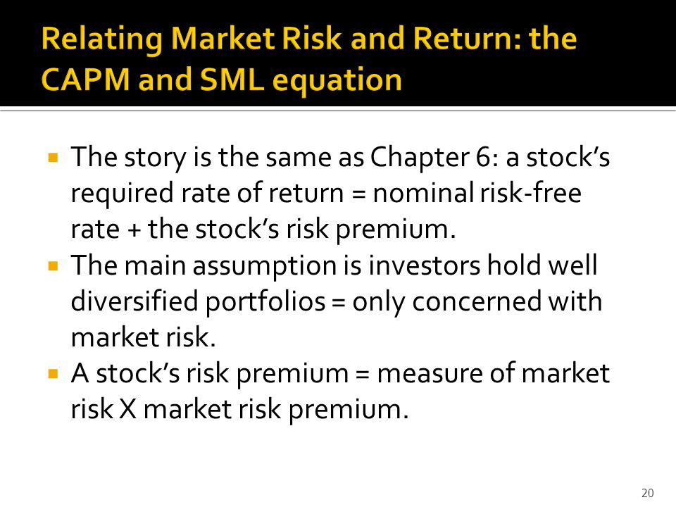  The story is the same as Chapter 6: a stock's required rate of return = nominal risk-free rate + the stock's risk premium.