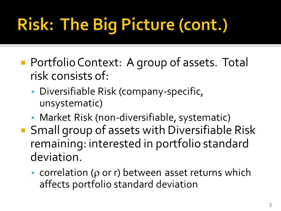 Well-diversified Portfolio  Large Portfolio (10-15 assets) eliminates diversifiable risk for the most part.