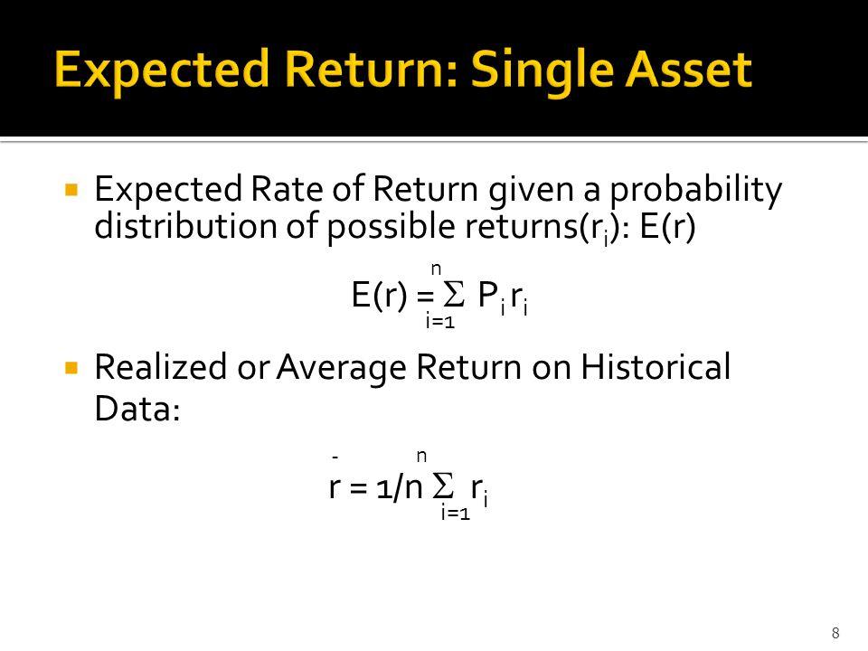  Relevant Risk Measure for single asset Variance =  2 =  ( r i - E(r)) 2 P i  Standard Deviation = Square Root of Variance  Historical Variance =  2 = 1/n  (r i – r AVG ) 2  Sample Variance = s 2 = 1/(n-1)  (r i – r AVG ) 2 9