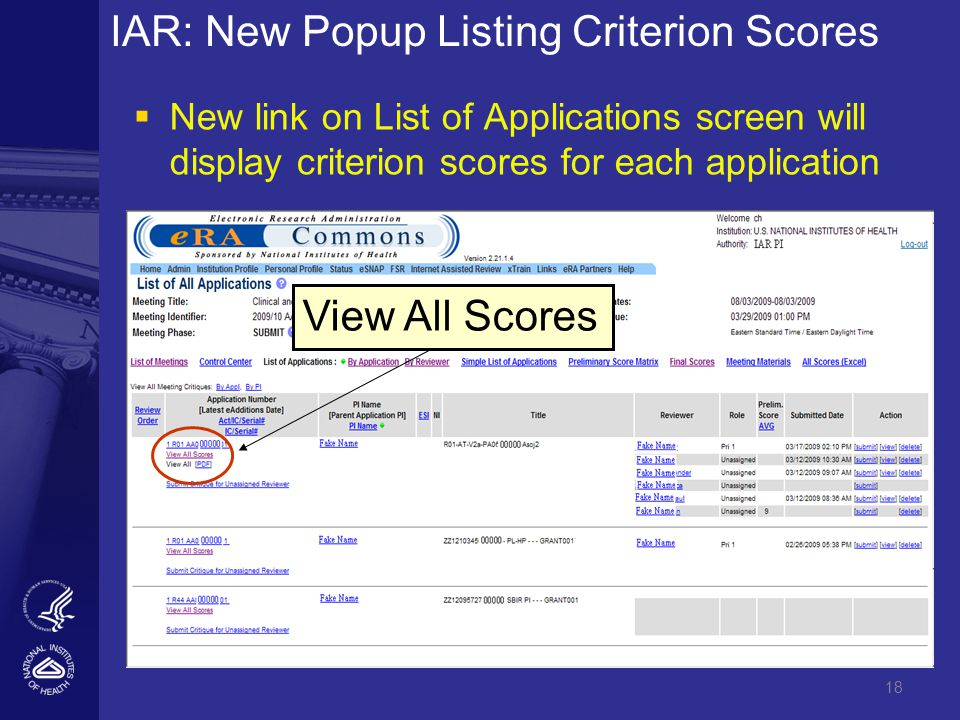18 IAR: New Popup Listing Criterion Scores   New link on List of Applications screen will display criterion scores for each application View All Scores