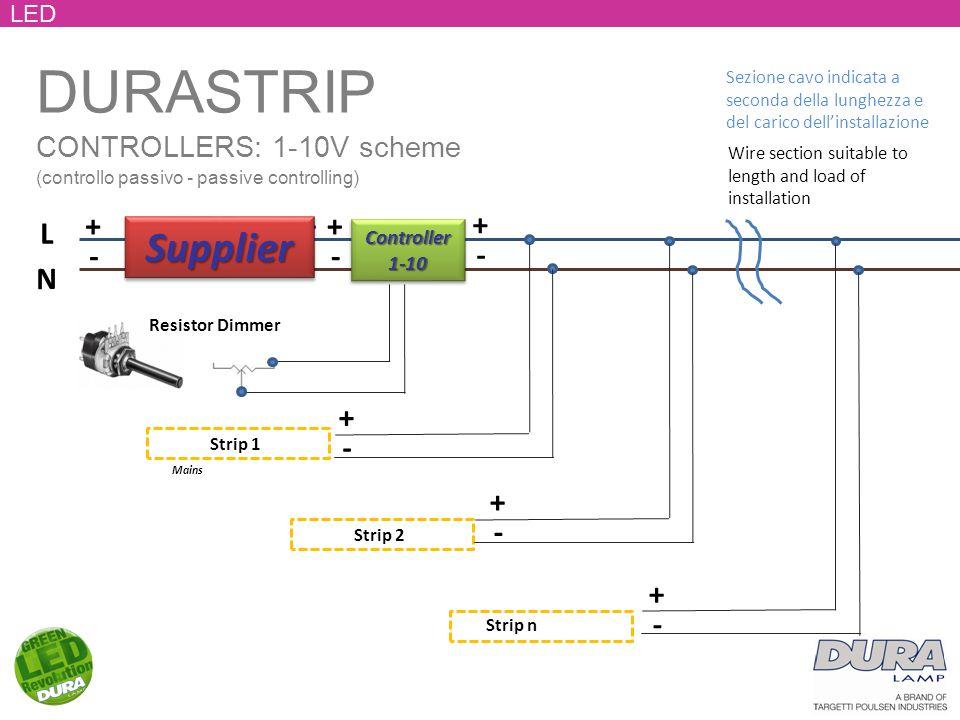 DURASTRIP CONTROLLERS: 1-10V scheme (controllo passivo - passive controlling) LED Mains L N + - + - Strip 1 Strip 2 + - + - + - Strip n SupplierSupplier + - + - Controller1-10Controller1-10 Resistor Dimmer Wire section suitable to length and load of installation Sezione cavo indicata a seconda della lunghezza e del carico dell'installazione