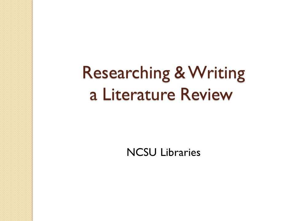 Writing a review of related literature