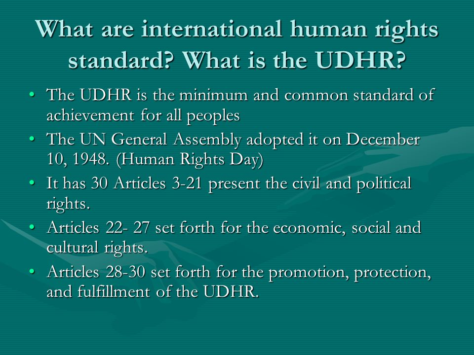 What are international human rights standard. What is the UDHR.