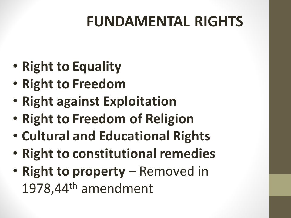FUNDAMENTAL RIGHTS Right to Equality Right to Freedom Right against Exploitation Right to Freedom of Religion Cultural and Educational Rights Right to