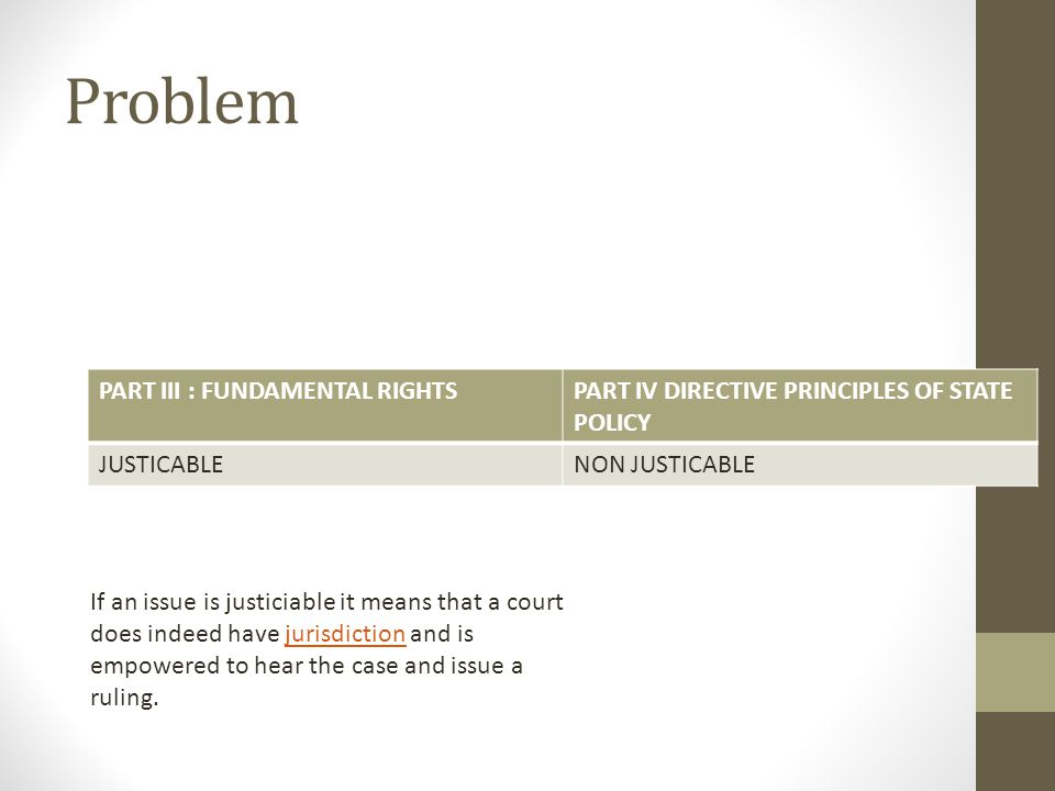 Problem PART III : FUNDAMENTAL RIGHTSPART IV DIRECTIVE PRINCIPLES OF STATE POLICY JUSTICABLENON JUSTICABLE If an issue is justiciable it means that a court does indeed have jurisdiction and is empowered to hear the case and issue a ruling.jurisdiction