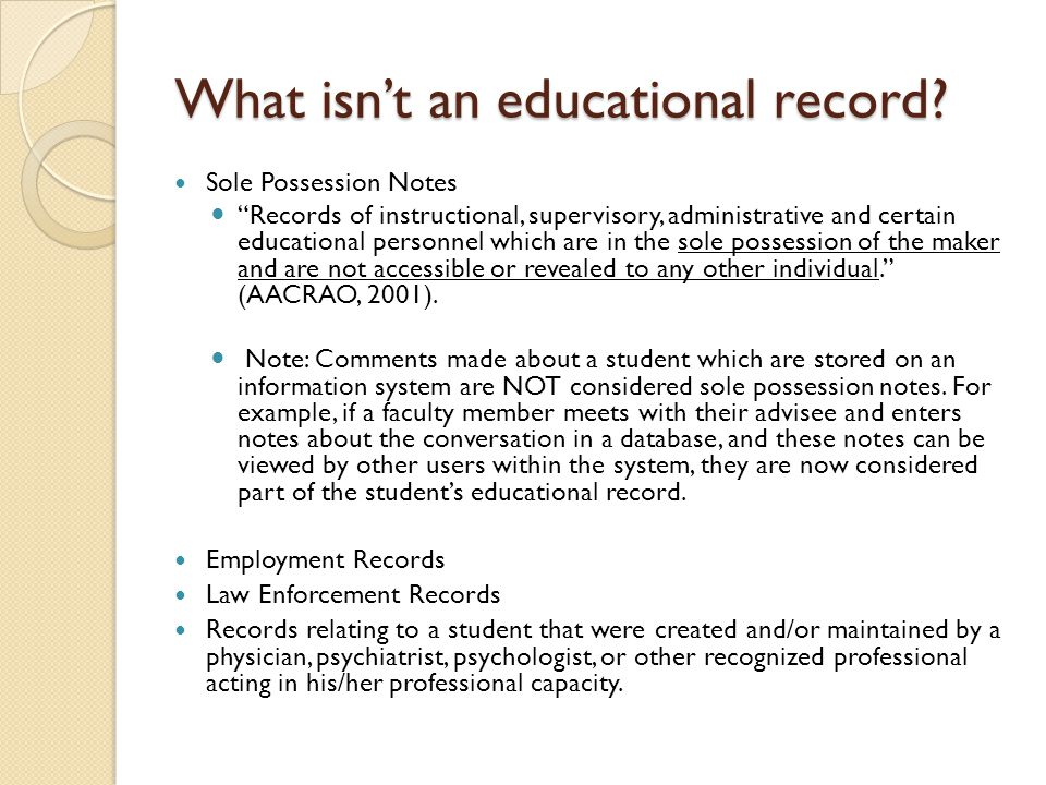 What isn't an educational record.