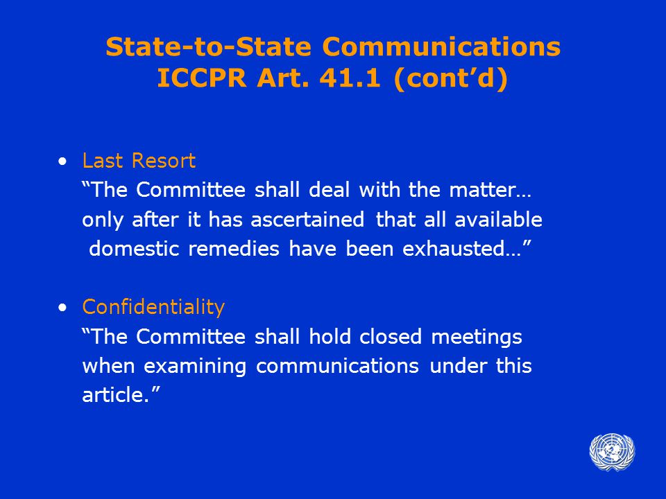 State-to-State Communications ICCPR Art.